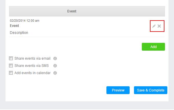 Events widget in your app