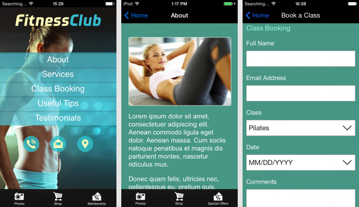 Fitness Club App Designs With Loyalty Card Solution