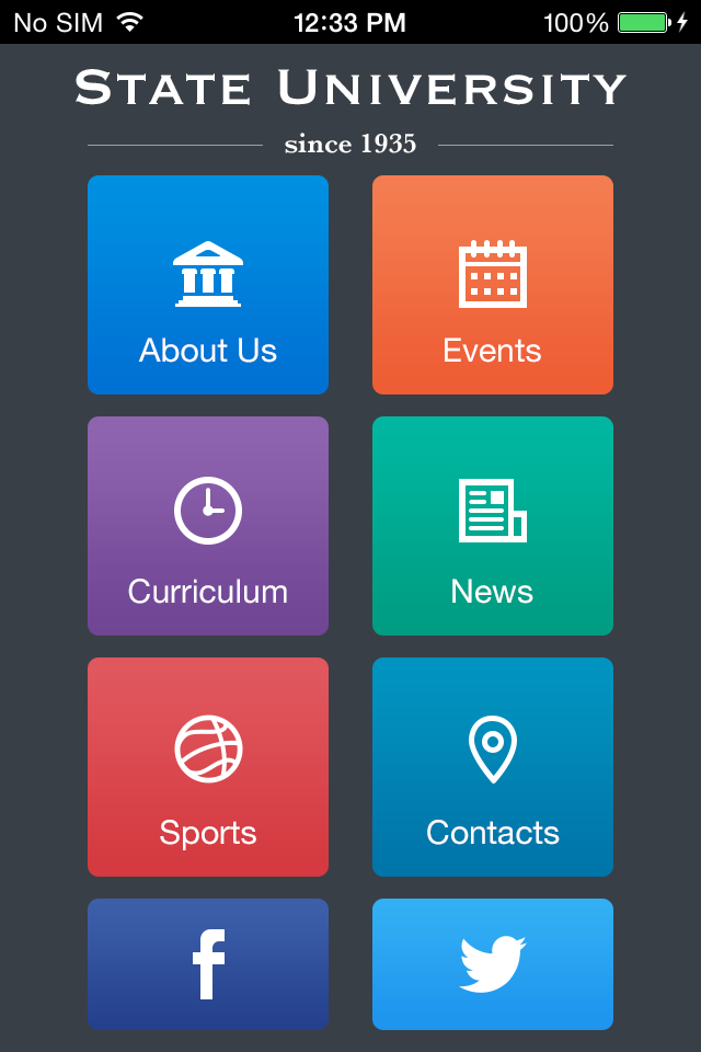 Use State University To Make Your Free Mobile App - Mobile app design templates