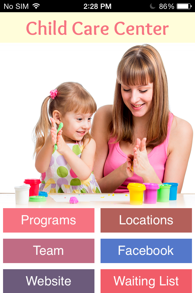 Child Care Center App App Templates