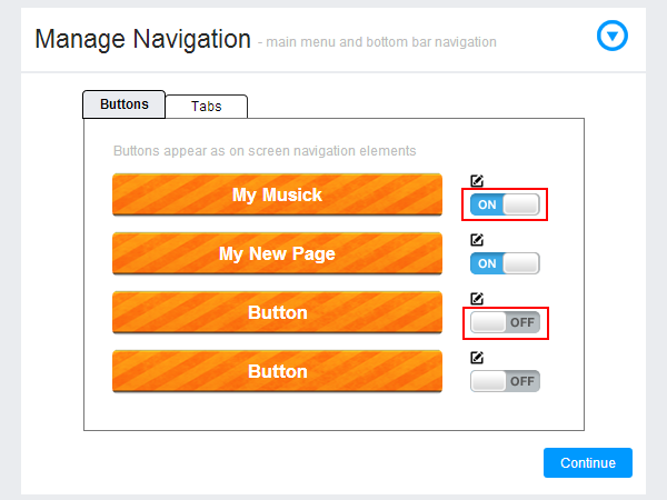 Manage navigation: add/delete a page in app
