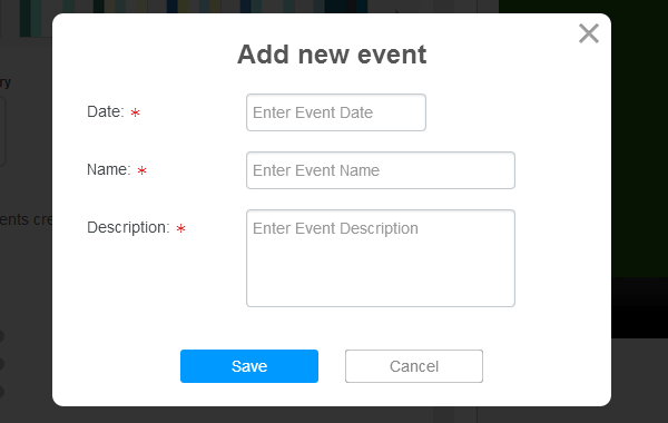 Events widget in your app